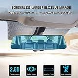 MOGOI Anti Glare Rear View Mirror, Blue Convex Rearview Mirror Wide Angle Panoramic No Blind Spot - Universal Car SUV Van Truck Interior Mirrors
