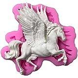 ODN - Molde de silicona en 3D para caballo de carrusel, moldes de fondant para