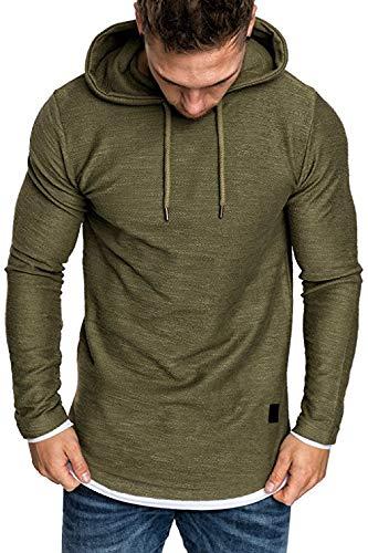 MNLXL Frühlings- Und Herbstmänner Einfaches Sweatshirt-Langes Hülsen-Mit Kapuze Gurt-Einfaches Normallack-Sweatshirt,Green,XXXL (Pullover Crewneck Wool Green)