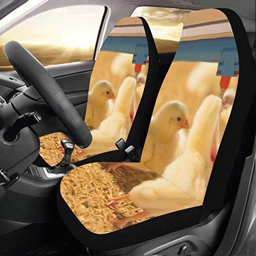 Yushg Schöne Kleine Huhn Benutzerdefinierte Neue Universal Fit Auto Drive Autositzbezüge Protector Für Frauen Automobil Jeep LKW SUV Fahrzeug Full Set Zubehör Für Erwachsene Baby (Set Von 2 Front) -