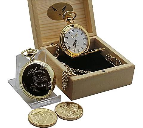 Die Beatles SIGNED Taschenuhr und Sammler Coin 24kt Gold beschichtet