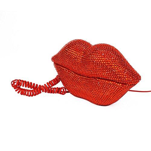 "Design Schnur- Telefon ""Lippen Kuhmuster Totenkopf Muster "" ideal als DEKO oder Geschenk Kabelgebunden viele Modelle (92011-001-000) (Telefon-anschluss-schnüre)"