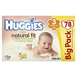 Huggies - 2065986 - Natural Fit Big Pack - Taille 3 - 4-9 kg x 78 Couches