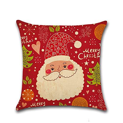 L&Z Christmas Creative Doodle Cartoon Print Animation Linen Pillowcase Cushion.