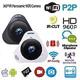 CCTV Wireless Camera System Indoor WiFi Spy Home Security Überwachungskamera Mini 360° IP Panorama versteckte Cam 960P HD mit Nachtsicht, Bewegungssensor, 2-Wege-Audio, Baby Monitor 3D Fischauge