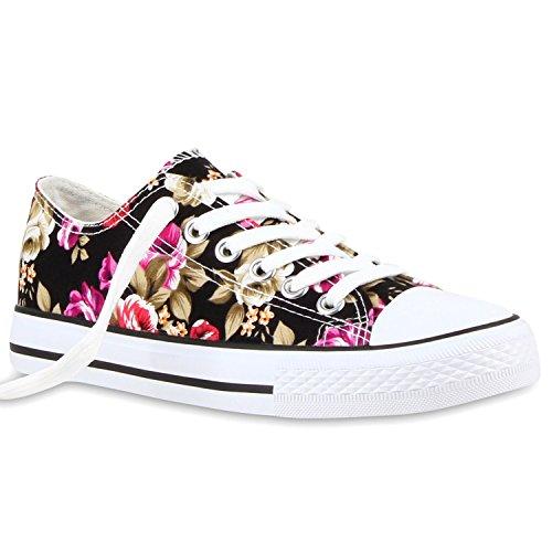 stiefelparadies Damen Sneakers Turn Freizeit Low Sneaker Übergrößen Prints Glitzer Denim Schuhe 118912 Schwarz Blumen 37 Flandell