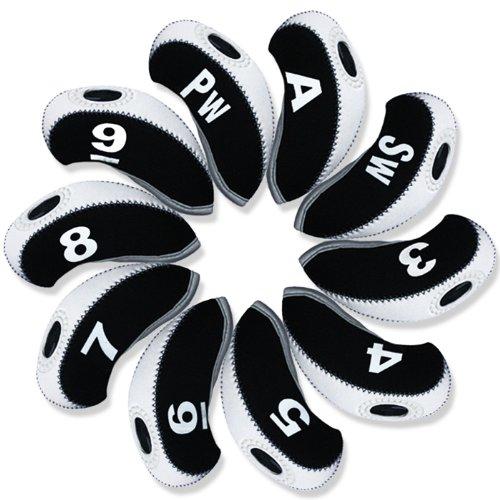 Andux Anzahl golf Schlägerkopfhüllen Golf Eisen deckt Eisenhauben 10pcs/set MT/s04 schwarz/weiß -