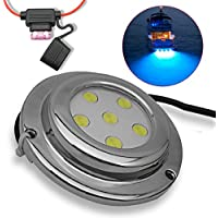 A-szcxtop barco tapón de drenaje lámpara de luz sumergible/Marino/Yate lámpara/lámpara de drenaje para barco/barco/yate con 6LED impermeable y antioxidantes luz para pesca, natación y buceo, azul