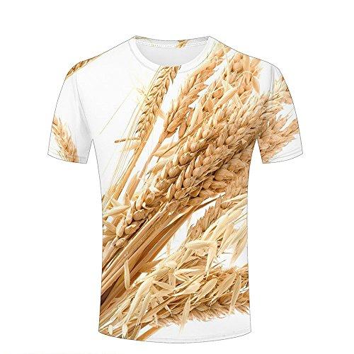 qianyishop 3d Print T Shirts Wheat Spikes Graphics Men Women Couple Fashion Tees A