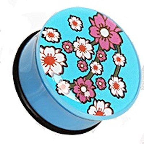 10 mm (00 GA) Blau Oriental Flower Blüte UV Acryl Single Flared Saddle Plug Ohr Messgerät Flesh Tunnel O-Ringe.