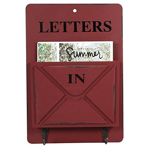 Aramox cassetta postale in legno della parete muro portaposta e decorazione portachiavi della casa con corchet. (rosso)