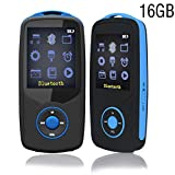 ChenFec MP3 Player Bluetooth 16GB Music Player Sport Max Support 64GB with Multifunction E-Book Digital Recording Blue