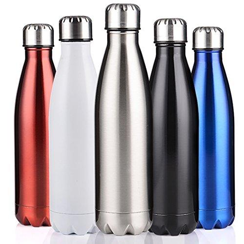 BELLOO 1 Litre Edelstahl Thermosflasche Sport Trinkflasche BPA Frei für Hiking,Silver