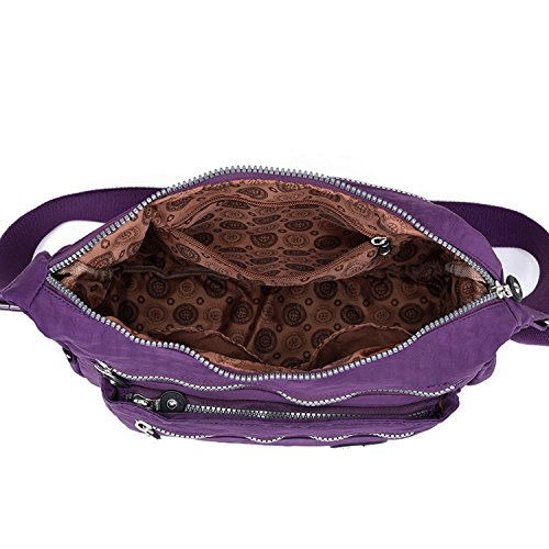 Outreo Schultertasche Damen Umhängetasche Leichter Kuriertasche Lässige Sporttasche Wasserdicht Messenger Bag Taschen Mode Reisetasche für Mädchen Lila