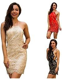 b83fd7fefef FXnn Frauen Spitze Besticktes Kleid Halfter reizvolles Halfter dünnes Kleid  133   original (Farbe
