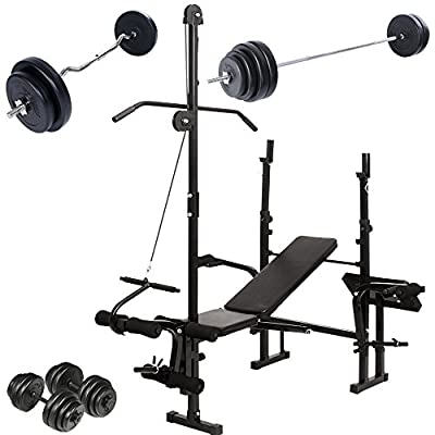 Physionics Weight Bench Set Multifunctional (Barbell + 2 Dumbbells + SZ Curl Bar) for Home Gym Workout by Physionics