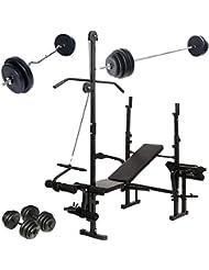 Physionics -Banco de pesas multifunción – varias posibilidades de regulación y de entrenamiento con barra larga con pesas 60 kg