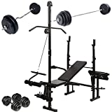 Physionics Weight Bench Set Multifunctional (Barbell + 2 Dumbbells + SZ Curl Bar) for Home Gym Workout