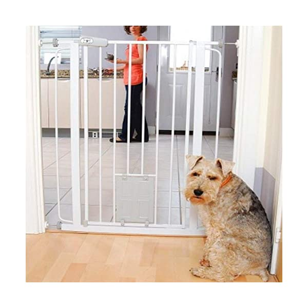 Bettacare Gate with Lockable Cat Flap Pressure Fitted Gate 75cm - 148.7cm Stair and Pet Gate (81.4cm - 89cm, White) Bettacare Pressure Fitted Double Locking Mechanism Fits a Standard Width: 75cm - 84cm 3
