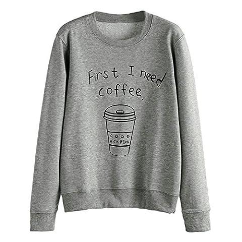 Switchali Chemisier à manches longues Lettre Femmes overs Imprimer Sweatshirt (M, Gris)