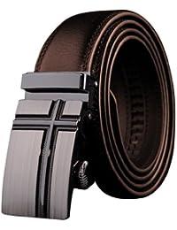 Panegy Cinturón de Piel Cuero con Hebilla Automática Para Hombres - Marrón - 105cm 110cm 115cm 120cm 125cm 130cm