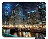 downtown chicago at night hdr Mouse Pad, Mousepad (Skyscrapers Mouse Pad)