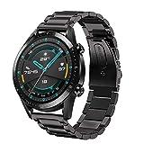 Aimtel Armband Kompatibel mit Huawei Watch GT 2 46mm Armband/GT Active/GT 46mm Armband, 22mm Edelstahl Metall Ersatz Zubehör für Huawei Watch GT 2 /Huawei GT 46mm Smartwatch(Schwarz)