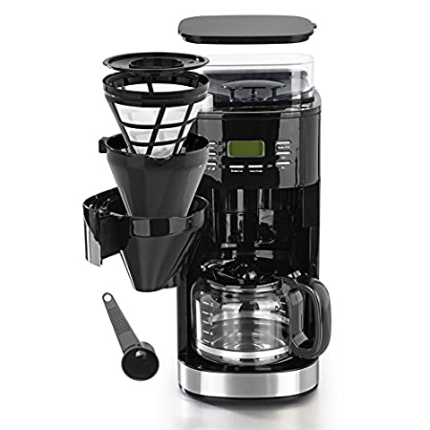 Kaffeemaschine mit individuell einstellbaren Mahlgrad, Mahlwerk, 24H Timer, Warmhalteplatte mit Abschaltautomatik und austausch- & waschbaren Kaffeefilter ( Einzelbohnenbehälter geeignet für ganze Bohnen UND gemahlenen Kaffee, 1050W ) Version 2017