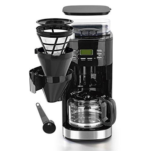 Kaffeemaschine mit individuell einstellbaren Mahlgrad, Mahlwerk, 24H Timer, Warmhalteplatte mit Abschaltautomatik und austausch- & waschbaren Kaffeefilter ( Einzelbohnenbehälter geeignet für ganze Bohnen UND gemahlenen Kaffee, 1050W )