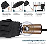 ESNBIA Compact Travel Umbrella w/ 10-Rib Reinforced Windproof Construction & Wooden Handle - Auto Open Close Button for One Handed Operation - Sturdy Portable and Lightweight for Easy Carry