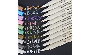 PuTwo Metallic marker pens, 10 Colours marker pens, scrapbook pens for black paper, scrapbook accessories, metallic paint pens, pens for photo album, scrapbooking pens