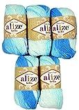 Alize Bella 5 x 50 Gramm Baumwolle Mehrfarbig mit Farbverlauf, 250 Gramm Wolle aus 100% Baumwolle, Strickwolle (Blau Weiß 2130)