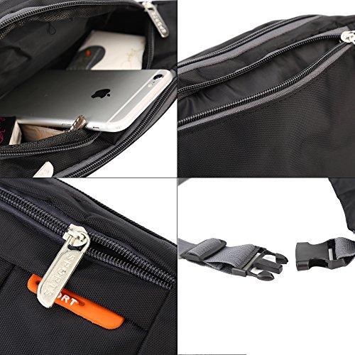 Wast borsa per uomini water-esistant in viaggio running Pack cintura regolabile, Green Black