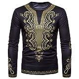 Dragon868 Pullover Herren Afrikanischer 3D-Druck Lange Ärmel Dashiki O-Neck Sweatshirt Top Oberteile