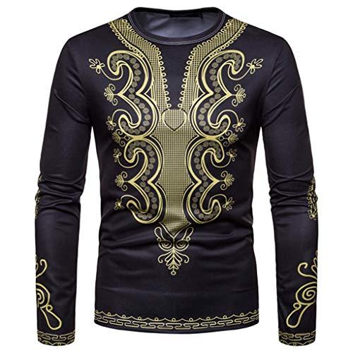 Dragon868 Pullover Herren Afrikanischer 3D-Druck Lange Ärmel Dashiki O-Neck Sweatshirt Top Oberteile -
