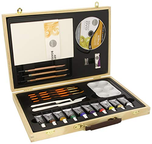 Daler Rowney 126500050 - Simply Acrylic Wooden Box Set