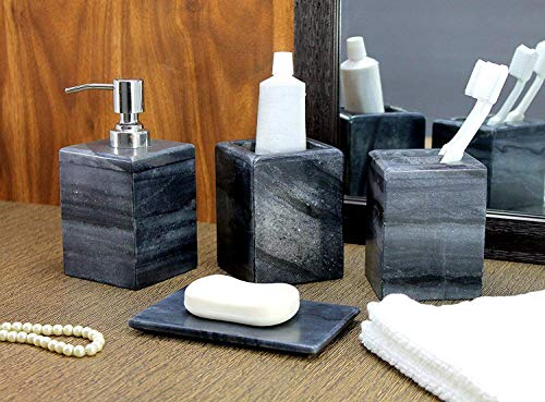 KLEO luxuriöses 4-teiliges Bad-Accessoires-Set - Beinhaltet: Seifenspender / Lotionsspender mit einer Pumpe aus Edelstahl, Zahnbürstenhalter / Zahnpastahalter, Becher und Seifenschale -