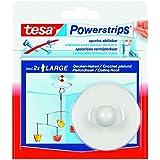 TESA Lot de 3 Powerstrips 1x crochet 2 strips large pour plafond force 500g Blanc