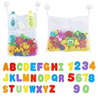 2 x Mesh Bath Toy Storage + 36 Bath Toys Letters and Numbers - Toddlers Large Toy Organiser Net Bag for Baby Boys & Girls and Shower Caddy Bonuses: 6 Ultra Strong Suction Hooks (White)