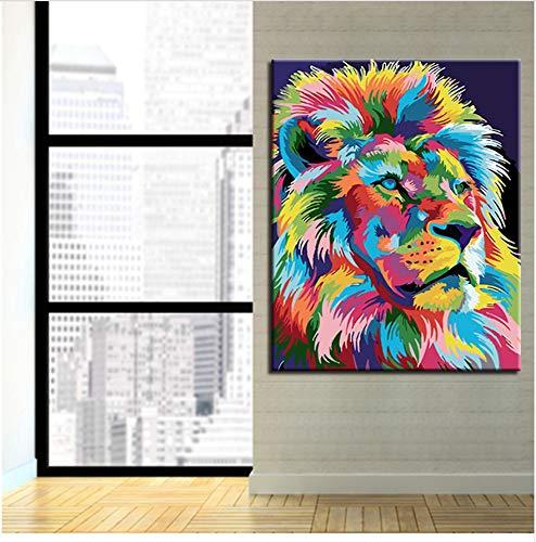XIGZI 40x50 cm Ölgemälde by Zahlen DIY handbemalte Kits färbung Bunte löwen Bilder Zeichnung auf leinwand Mode wohnkultur wandkunst Ohne Rahmen
