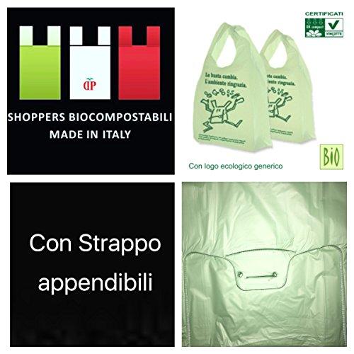 PREZZO LIGHT shopper biodegradabili e compostabili 250 pezzi cm 27x50 bio biodegradabili e compostabili gr 6,5 UNI 13432 ideali per umido organico Sacchetti Green