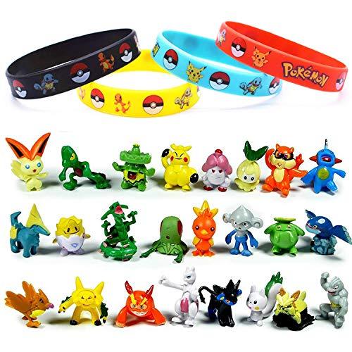 OMZGXGOD -  24 Piezas Pokemon Monster Mini Figure 2- 3cm in Random+12 Piezas Pulsera de Silicona,Fiesta para niños y Adultos