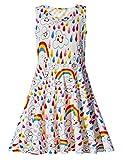 Rave on Friday Baby Kleine Mädchen Ärmelloses Kleider Rundhals Regenbogen und Wolken Gedruckt Lustiges Muster Sommerkleid für Geburtstagsfeier 4-5T S