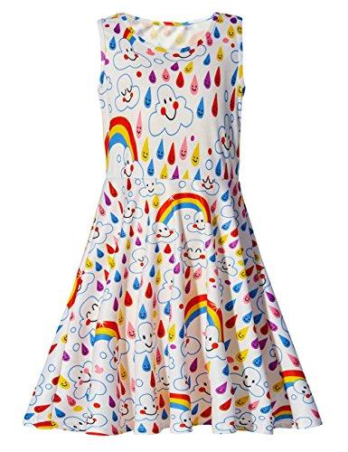 Kleine Mädchen Ärmelloses Kleider Rundhals Regenbogen und Wolken Gedruckt Lustiges Muster Sommerkleid für Geburtstagsfeier 4-5T S ()