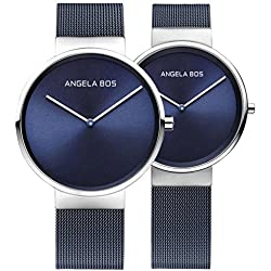 Angela Bos His and Hers Ultra Thin Simple Stainless Steel Quartz Wrist Watch for Men Women Couple Watches 8010