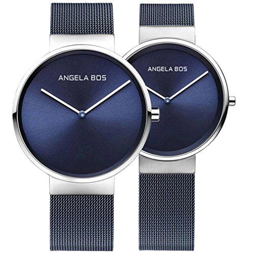 Angela Bos masculino y femenino Ultra Thin Simple acero inoxidable cuarzo reloj de pulsera para hombres mujeres pareja relojes 8010