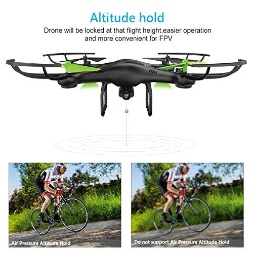 Potensic U42W Drone con Telecamera HD   Actualizado Wifi FPV 2.4GHz 4CH 6 Axis Gyro RC Quadcopter Drone Videocamara RTF Suspension de Altura UFO Prima Hover  Modo sin Cabeza  Flip 3D