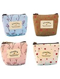 BIGBOBA 4pcs Mini lienzo monedero mujer cartera monedero bolso de la bolsa Holder bolsa de almacenamiento Tamaño pequeño para llaves, móvil, barra de labios, tarjeta
