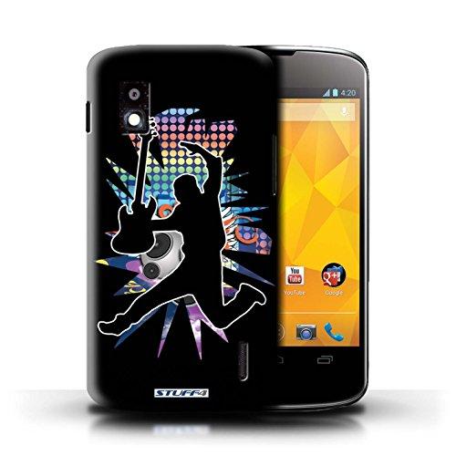 Kobalt® Imprimé Etui / Coque pour LG Nexus 4/E960 / Chanteur Noir conception / Série Rock Star Pose Saut Noir