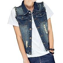 Herren Klassisch Denim Jeansweste Biker Ärmellos Slim Fit Zerrissene Jeans  Jacke Weste Outwear f80b3d0204